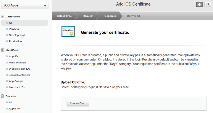 Upload Certificate Signing Request